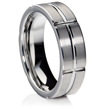 Flat Court Profile Tungsten Carbide Ring with Matt Finish