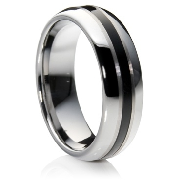 Double Comfort Tungsten Carbide Ring with Black Resin Inlay