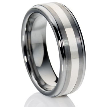 Flat-Court Tungsten Carbide Ring with Silver Inlay
