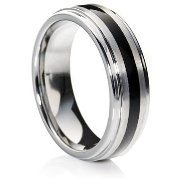 Flat-Court Tungsten Carbide Ring with Black Resin Inlay