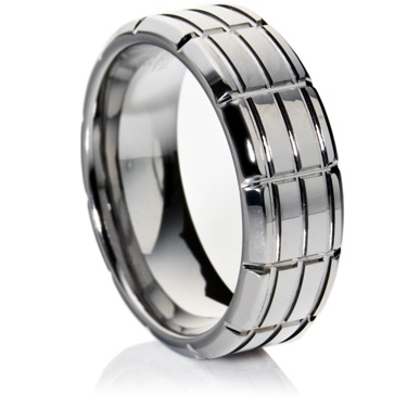 Tungsten Carbide Ring with Rectangular Paneling