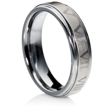 Etched Flat Court Tungsten Carbide Ring