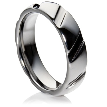 Court Profile Tungsten Carbide Ring with diagonal grooves