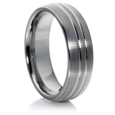 Court Profile Tungsten Carbide Ring with a Matt Finish