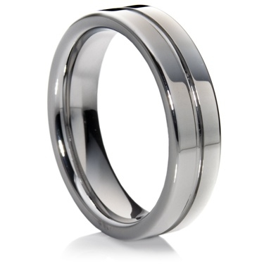 Flat Court Tungsten Carbide Ring with a central groove