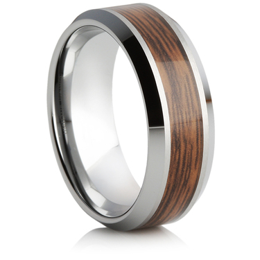 Tungsten Carbide Ring With a Wooden Inlay