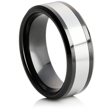 Tungsten Carbide Ring with a Ceramic Centre