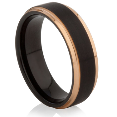 Rose Gold and Black IP Plated Tungsten Carbide Ring
