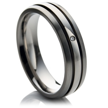 Diamond Set Titanium Ring