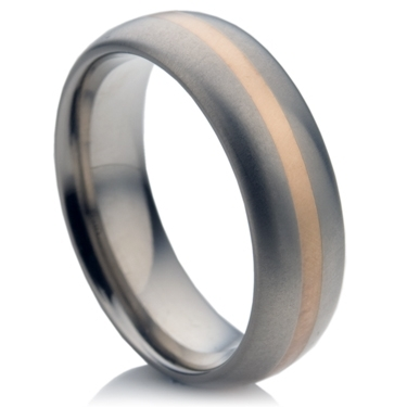 Titanium Ring with White Gold Inlay