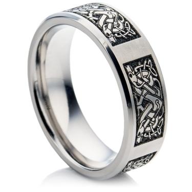 laser engraved celtic designed titanium ring