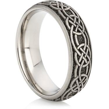 celtic designed laser engraved titanium ring