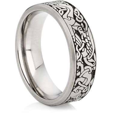 Titanium Wedding Ring with Laser Engraving