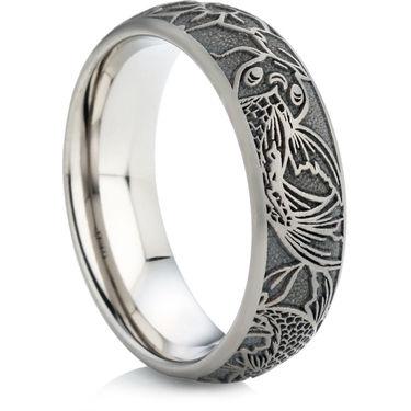 koi carp designed laser engraved titanium ring