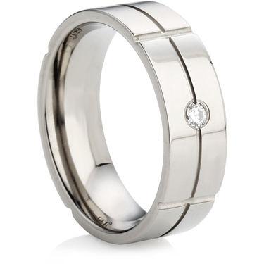 Titanium Ring with a Brilliant Cut Diamond