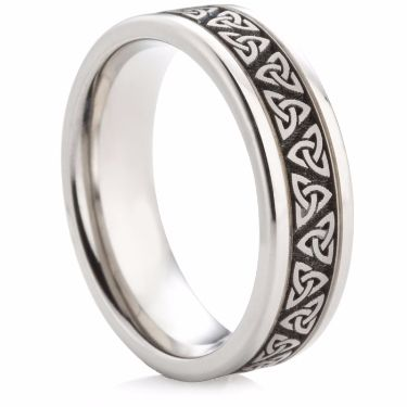 Titanium Ring with Trinity Knot Laser Engraving
