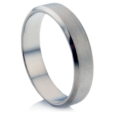 Decorative Titanium Ring with Bevelled Shoulders