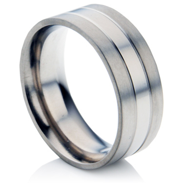 Mens Twin Groove Two Tone Titanium Ring
