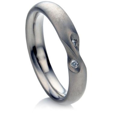 Twisted Titanium Diamond Set Wedding Ring