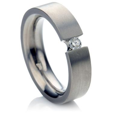 Diamond Set Titanium Wedding Ring