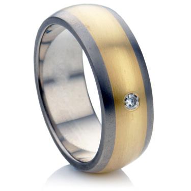 Multi Metal Diamond Set Wedding Ring.