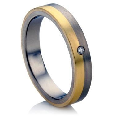 Diamond Set Multi Metal Wedding Ring.