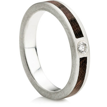 Wooden Inlay Wedding Ring with a Diamond