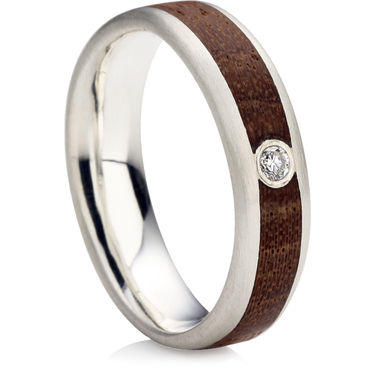 Brilliant Cut Diamond Wedding Ring with a Wooden Inlay