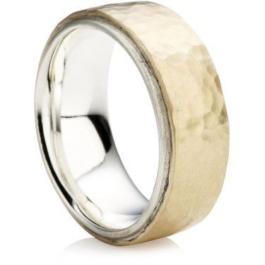 Hammered Finish Two Tone Ring