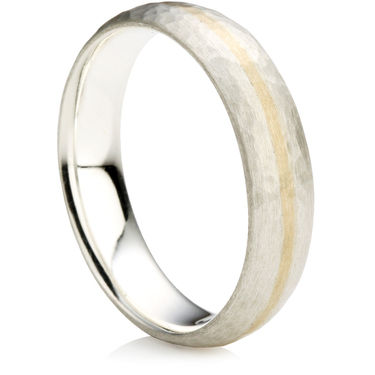 Hammered Finish Wedding Ring with Gold Inlay