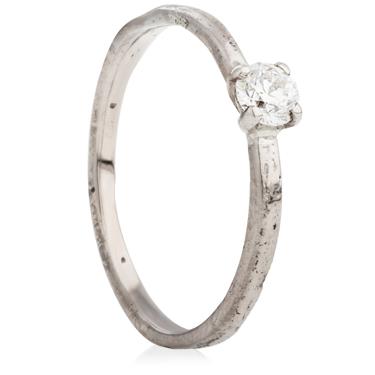 18ct White 2mm Sandcast Engagement Ring