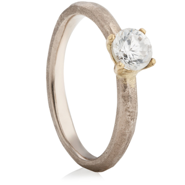 18ct White and Yellow Gold Sandcast Engagement Ring