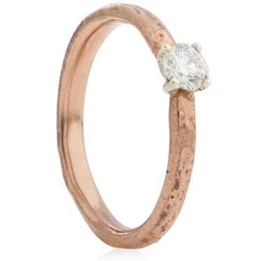 2mm Wide 9ct Rose Gold Sandcast Engagement Ring