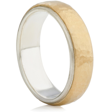 6mm silver and yellow gold hammered ring