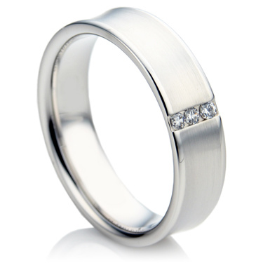 Concave Shape Diamond Wedding Ring Set
