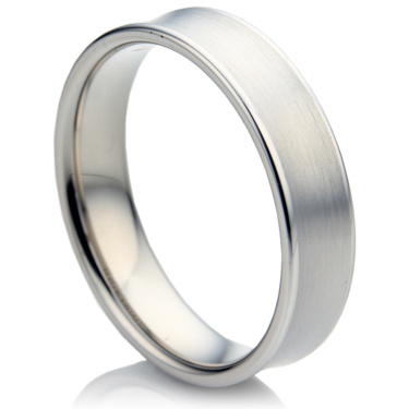 Concave Shape White Gold Wedding Ring Set