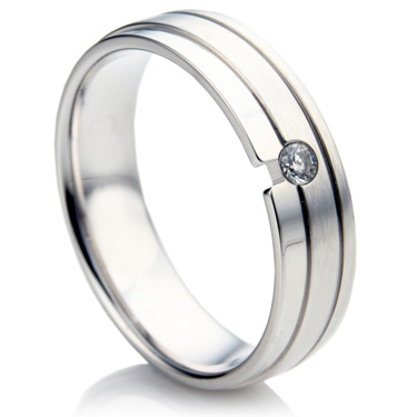 Flat Court Diamond Set Wedding Ring Set