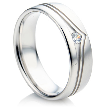 Court Shape, Wavy Groove Diamond Wedding Ring Set