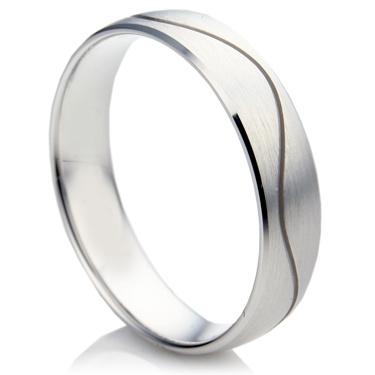 Court Shape Single Wave Matching Wedding Rings