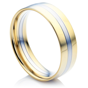 Double Comfort, Yellow and White Gold Men's Wedding Ring