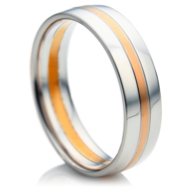 Double Comfort Rose and White Gold Men's Wedding Ring