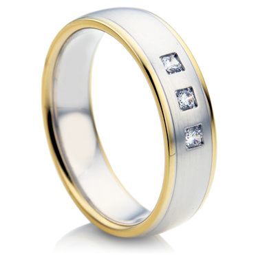 Double Comfort Yellow and White Gold Diamond Wedding Ring