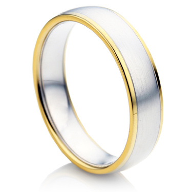Double Comfort Bi-Colour Men's Wedding Ring