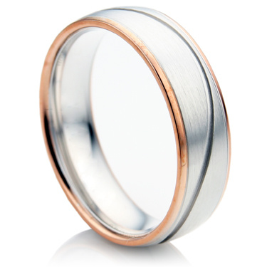 Court Shape Bi-Colour Men's Wedding Ring