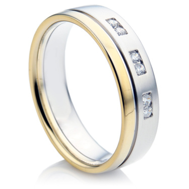 Double Comfort White and Yellow Gold Diamond Wedding Ring