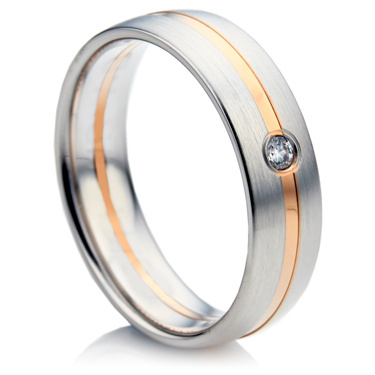Court Shape Diamond Wedding Ring in White and Rose Gold