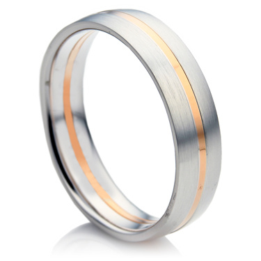 Court Shape White and Rose Gold Men's Wedding Ring