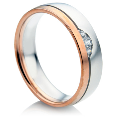 Court Shape Two Colour Diamond Wedding Ring