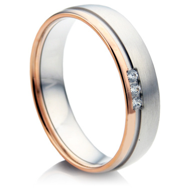 Double Comfort Two Colour Diamond Wedding Ring