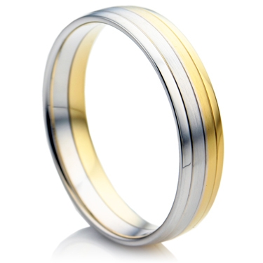 Court Shape Two Colour Men's Wedding Ring